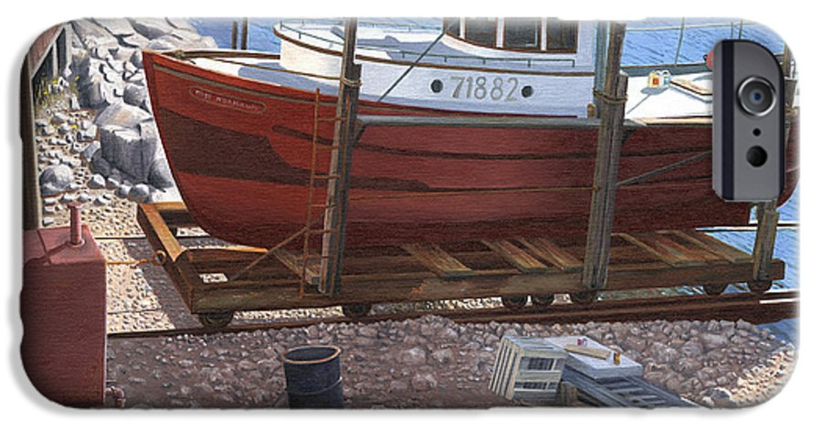Fishing Boat IPhone 6 Case featuring the painting The Red Troller by Gary Giacomelli