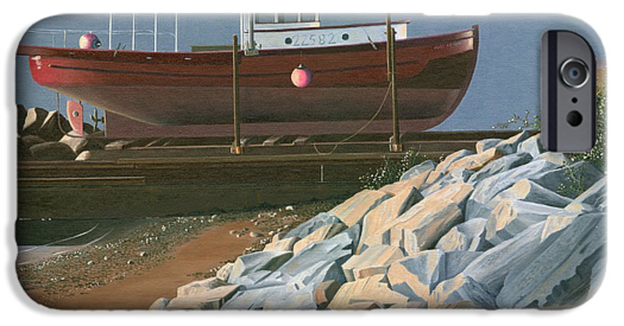 Ship IPhone 6 Case featuring the painting The Red Troller Revisited by Gary Giacomelli