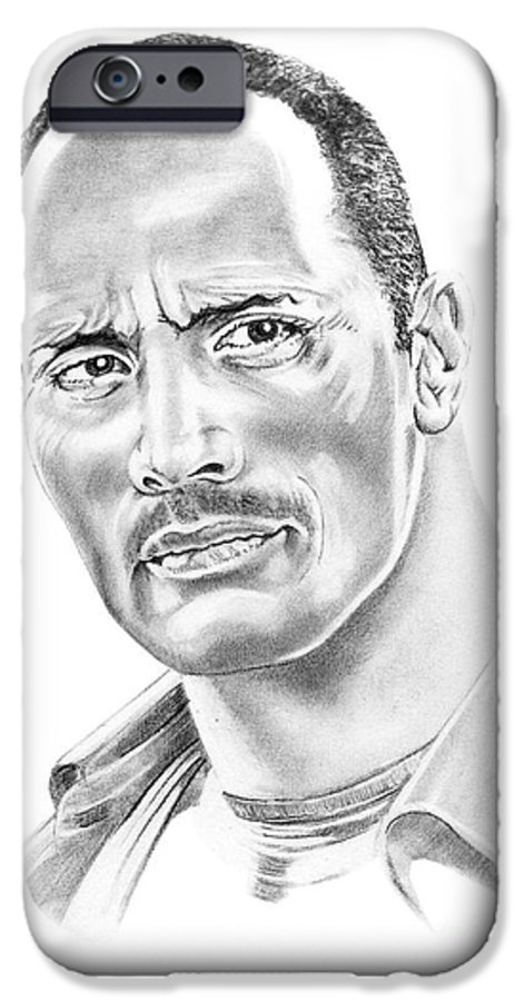 Pencil IPhone 6 Case featuring the drawing The Roc  Dwain Johnson by Murphy Elliott