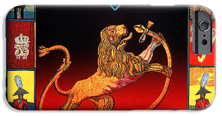 Historic IPhone 6 Case featuring the mixed media The Royal Norwegian Lion by Jarle Rosseland
