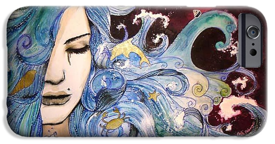 Sea Dolphin Tears Cry Boat Wave IPhone 6 Case featuring the drawing The Sea Inside by Freja Friborg