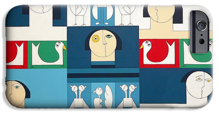 People Birds Music Modern Special IPhone 6 Case featuring the painting The Sound Of Birds by Hildegarde Handsaeme