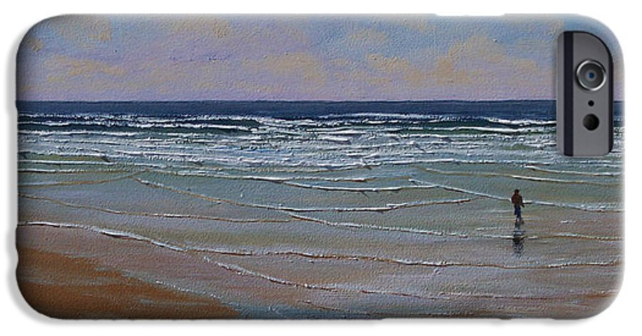 Seascape IPhone 6 Case featuring the painting The Surf Walker by Frank Wilson