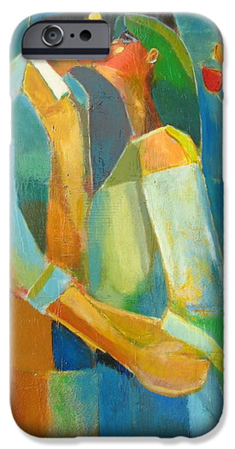 Love Abstract IPhone 6 Case featuring the painting The Sweet Kiss by Habib Ayat