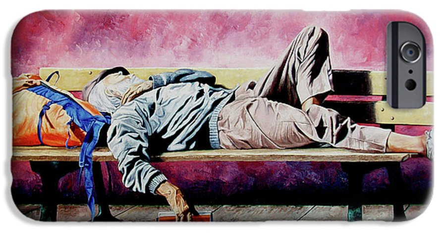 Figurative IPhone 6 Case featuring the painting The Traveler 1 - El Viajero 1 by Rezzan Erguvan-Onal