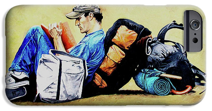 Travel IPhone 6 Case featuring the painting The Traveler 2 - El Viajero 2 by Rezzan Erguvan-Onal