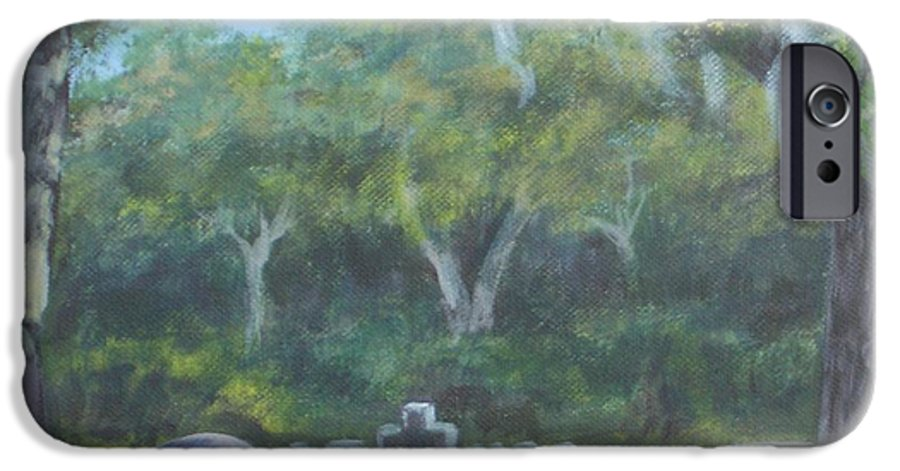 Landscape Cemetary Ghost Tree Florida Orlando Greenwood IPhone 6 Case featuring the painting The Visitor 75usd by Karen Bowden