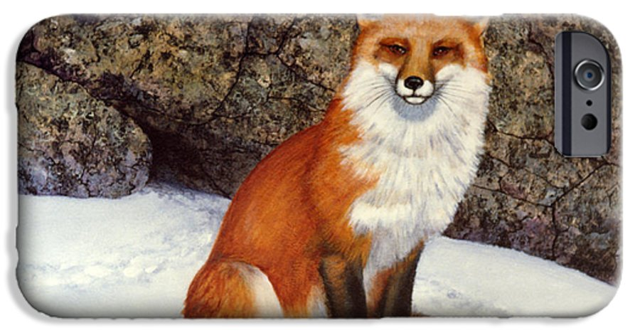 Wildlife IPhone 6 Case featuring the painting The Wait Red Fox by Frank Wilson
