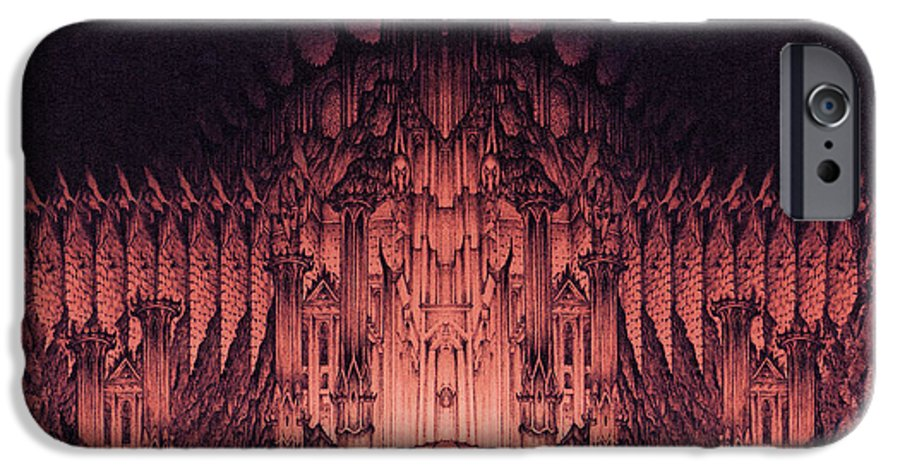Barad Dur IPhone 6 Case featuring the drawing The Walls Of Barad Dur by Curtiss Shaffer