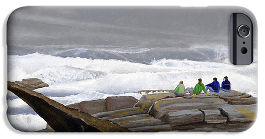 Waves IPhone 6 Case featuring the painting The Wave Watchers by Dominic White