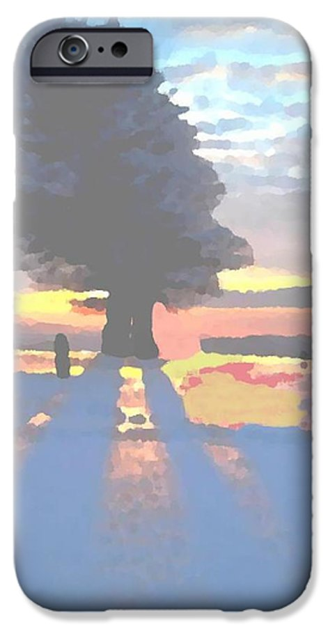 Sky.clouds.winter.sunset.snow.shadow.sunrays.evening Light.tree.far Forest. IPhone 6 Case featuring the digital art The Winter Lonely Tree by Dr Loifer Vladimir