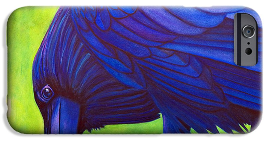 Raven IPhone 6 Case featuring the painting The Witness by Brian Commerford