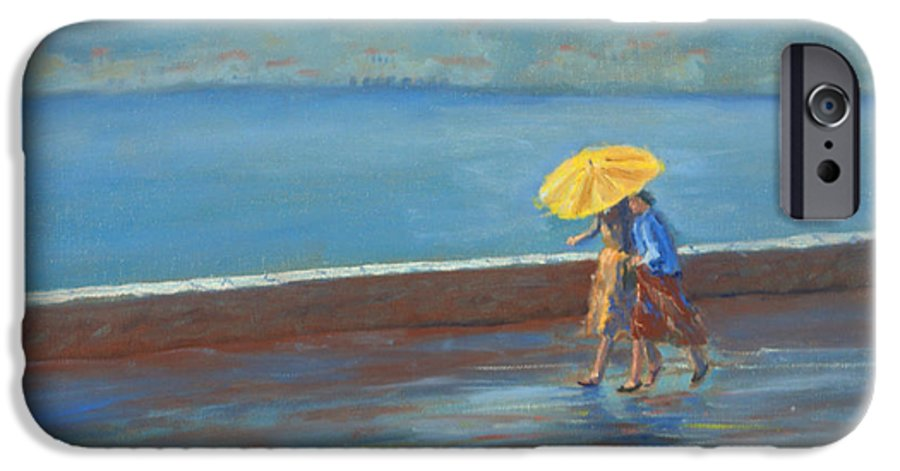 Rain IPhone 6 Case featuring the painting The Yellow Umbrella by Jerry McElroy