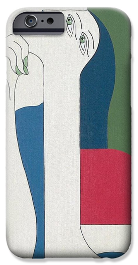Modern Special Women Bleu Red Green IPhone 6 Case featuring the painting Thinking by Hildegarde Handsaeme