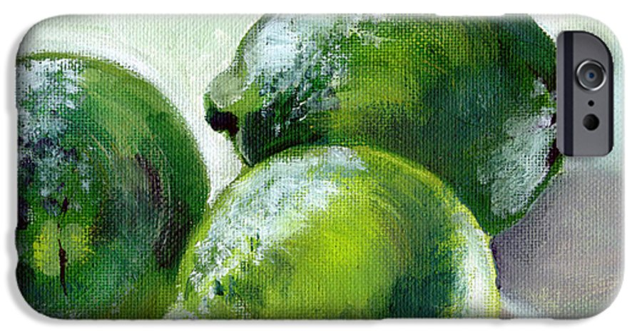 Food IPhone 6 Case featuring the painting Three Limes by Sarah Lynch
