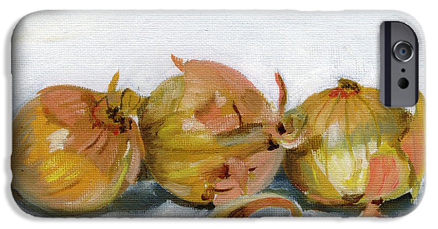 Food IPhone 6 Case featuring the painting Three Onions by Sarah Lynch