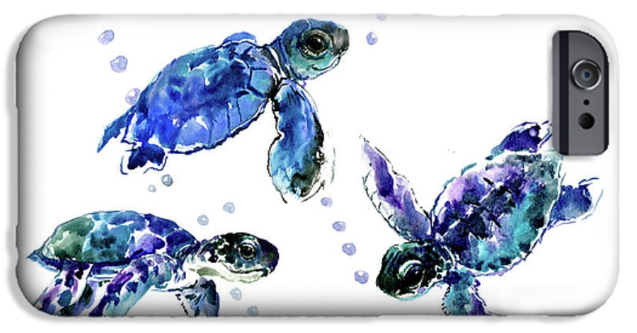 Turtle IPhone 6 Case featuring the painting Three Sea Turtles, Blue, Turquoise, Purple Underwater Scene Turtle Artwork by Suren Nersisyan