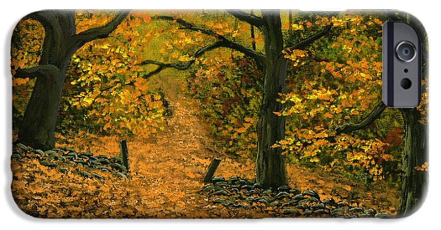 Landscape IPhone 6 Case featuring the painting Through The Fallen Leaves by Frank Wilson