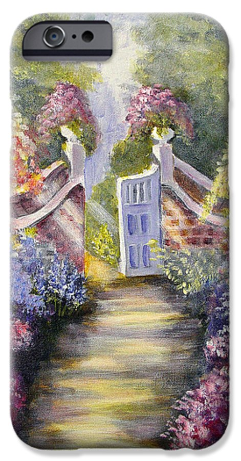 Flowers IPhone 6 Case featuring the painting Through The Garden Gate by Quwatha Valentine