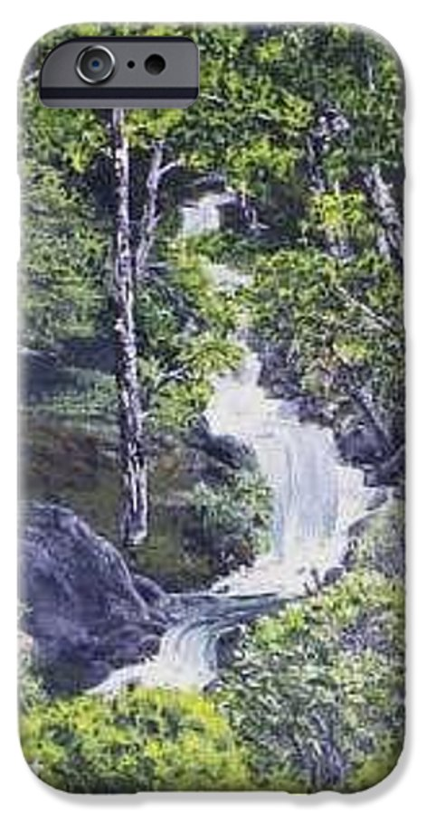 This Is A Lovely Waterfall We Saw On The Way Back Home From Mount Hood Oregon. IPhone 6 Case featuring the painting Through The Woods by Darla Boljat