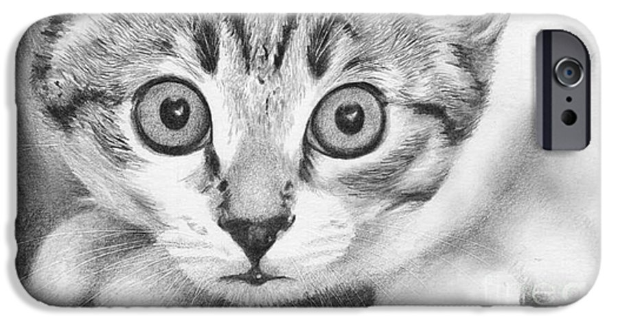Cat IPhone 6 Case featuring the drawing Tiddles by Karen Townsend