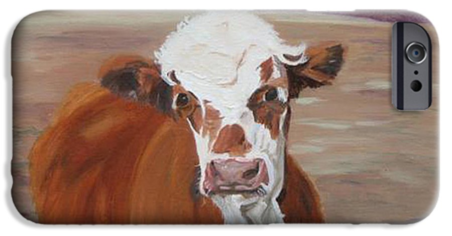 Cow Calf Farmscene IPhone 6 Case featuring the painting Tiffany by Paula Emery
