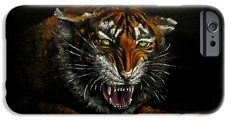 Animal IPhone 6 Case featuring the painting Tiger-1 Original Oil Painting by Natalja Picugina