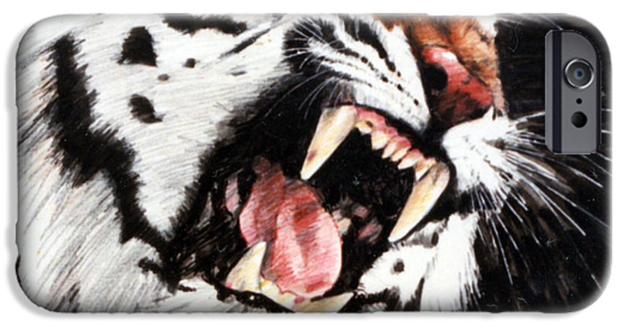Tiger Roaring IPhone 6 Case featuring the painting Tiger by John Lautermilch