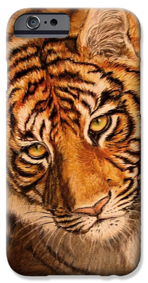 Tiger IPhone 6 Case featuring the drawing Tiger by Karen Ilari