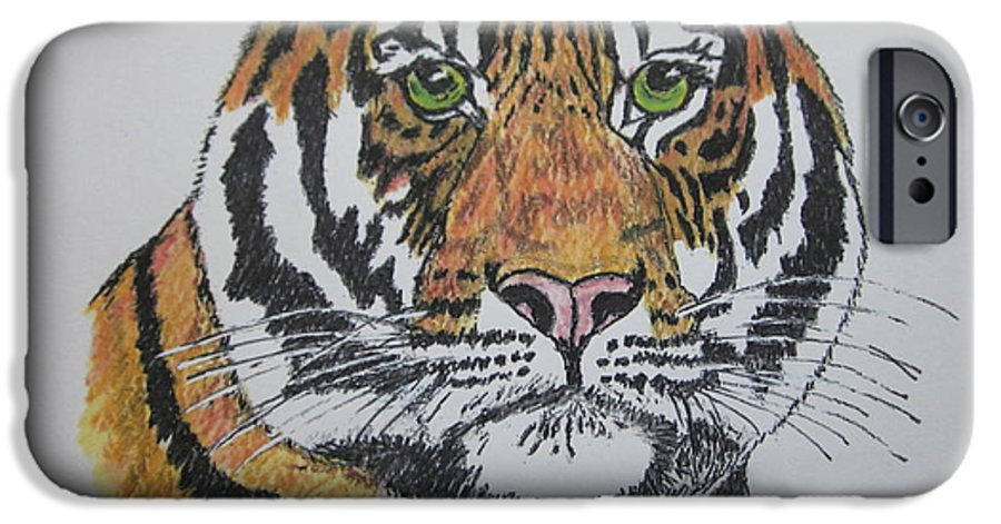 Bengal IPhone 6 Case featuring the painting Tiger by Kathy Marrs Chandler