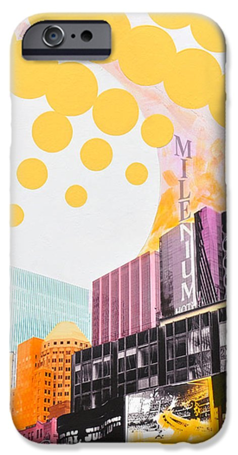 Ny IPhone 6 Case featuring the painting Times Square Milenium Hotel by Jean Pierre Rousselet