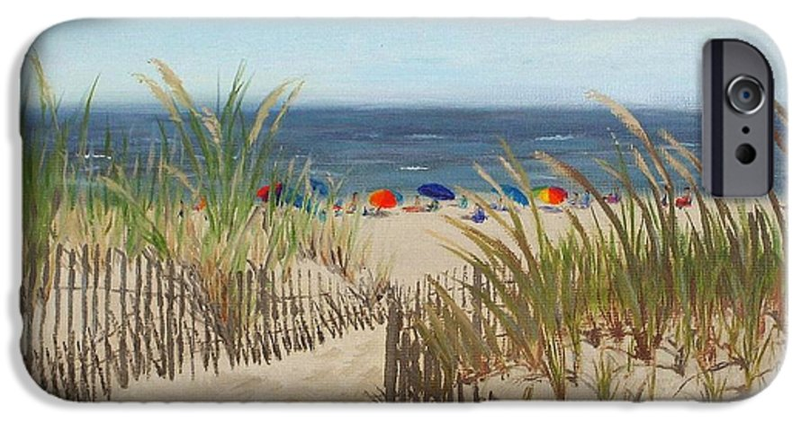 Beach IPhone 6 Case featuring the painting To The Beach by Lea Novak