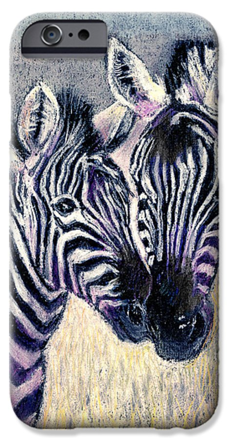 Zebras IPhone 6 Case featuring the pastel Together by Arline Wagner