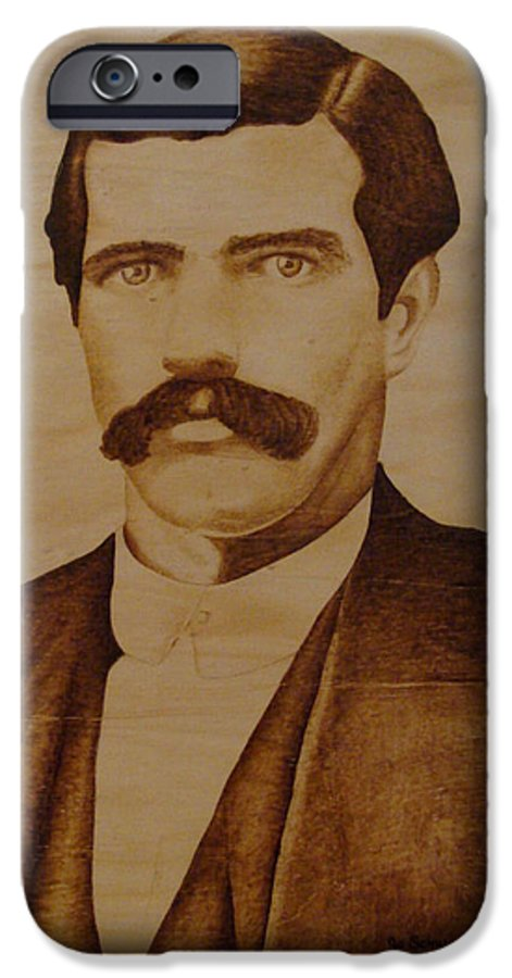 Pyrography; Woodburning; Sepia; Old West; Sheriff; IPhone 6 Case featuring the pyrography Tom Smith by Jo Schwartz