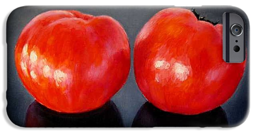 Tomatoes IPhone 6 Case featuring the painting Tomatoes Original Oil Painting by Natalja Picugina