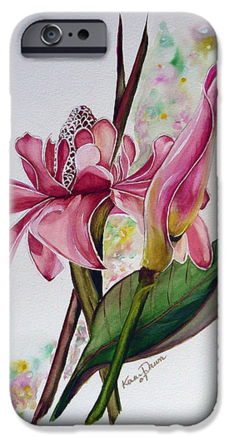Flower Painting Floral Painting Botanical Painting Flowering Ginger. IPhone 6 Case featuring the painting Torch Ginger Lily by Karin Dawn Kelshall- Best