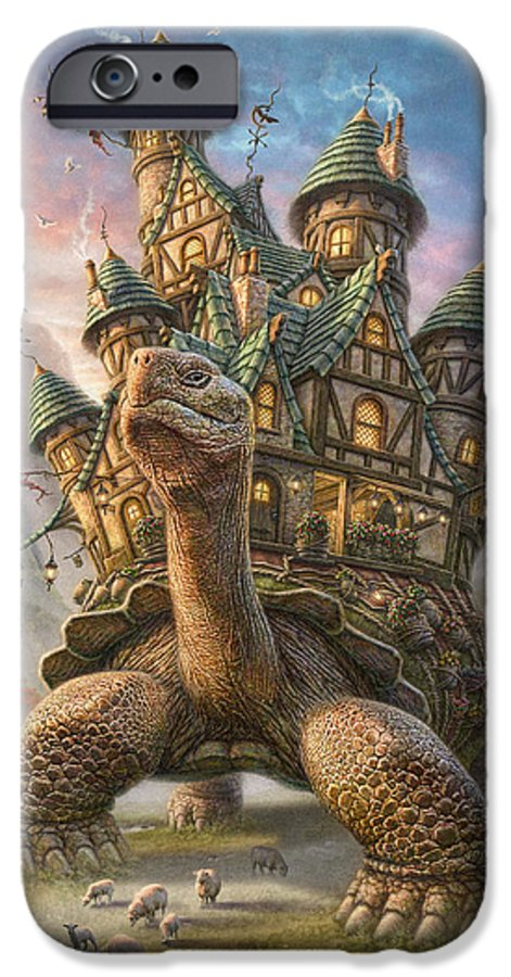 Tortoise IPhone 6 Case featuring the mixed media Tortoise House by Phil Jaeger