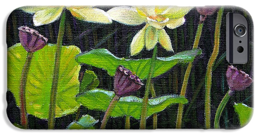 Lotus IPhone 6 Case featuring the painting Touching Lotus Blooms by John Lautermilch