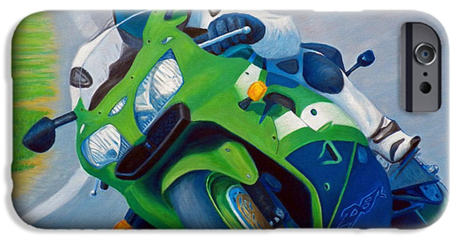 Motorcycle IPhone 6 Case featuring the painting Track Day - Kawasaki Zx9 by Brian Commerford