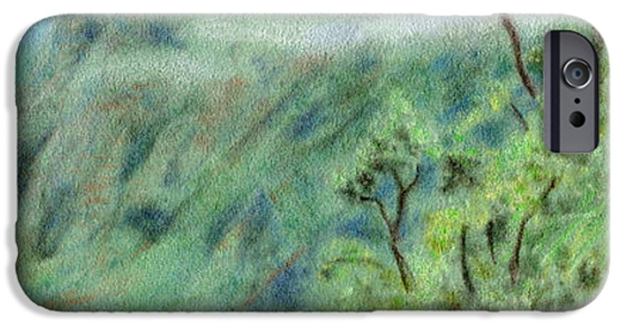 Rainbow Colors Pastel IPhone 6 Case featuring the painting Trail's End by Kenneth Grzesik