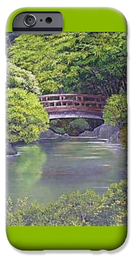 This Peaceful Scene Is An Artist's Rendition Of The Japanese Gardens IPhone 6 Case featuring the painting Tranquility by Darla Boljat