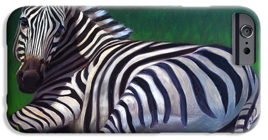 Zebra IPhone 6 Case featuring the painting Tranquility by Greg Neal