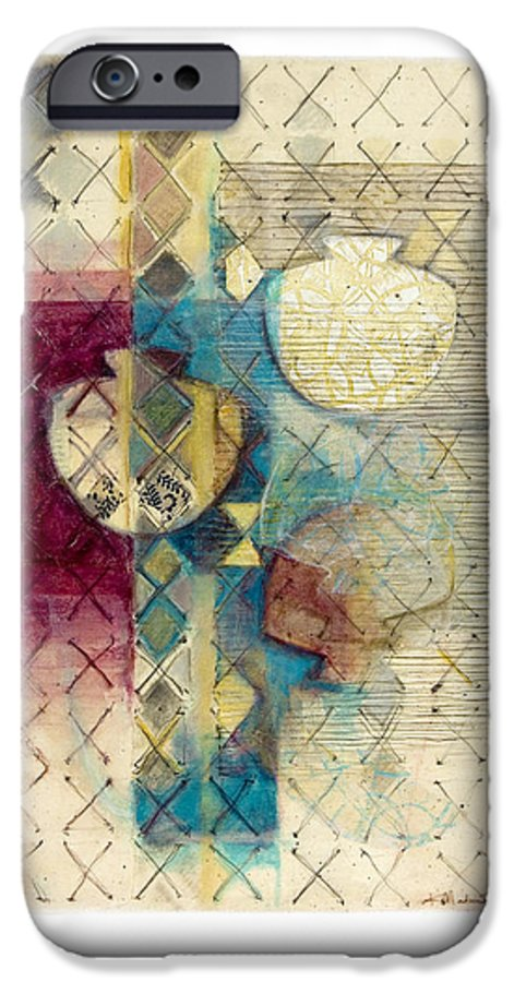 Mixed-media IPhone 6 Case featuring the painting Trans Xs No 1 by Kerryn Madsen- Pietsch