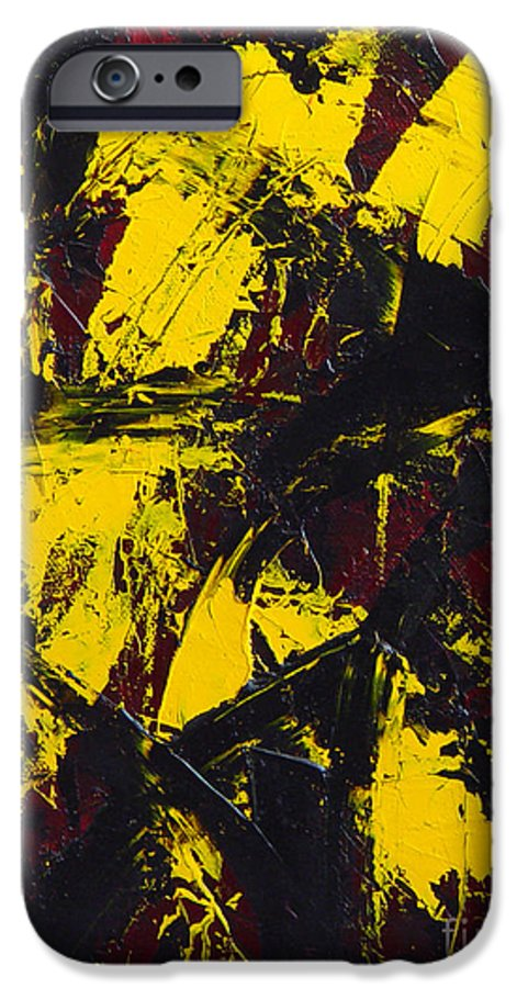 Abstract IPhone 6 Case featuring the painting Transitions With Yelllow And Black by Dean Triolo