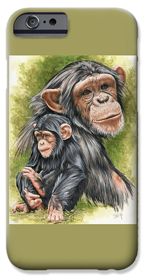 Chimpanzee IPhone 6 Case featuring the mixed media Treasure by Barbara Keith