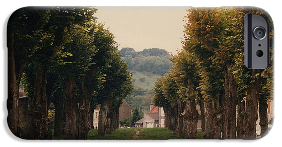Trees IPhone 6 Case featuring the photograph Tree Lined Pathway In Lyon France by Nancy Mueller