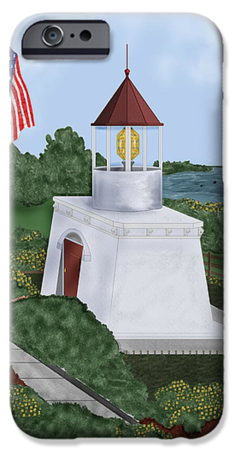 Trinidad Memorial IPhone 6 Case featuring the painting Trinidad Memorial Lighthouse by Anne Norskog