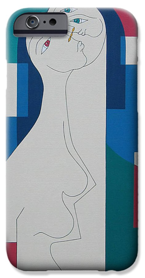 Modern Women Bleu Green Red Humor IPhone 6 Case featuring the painting Trio by Hildegarde Handsaeme
