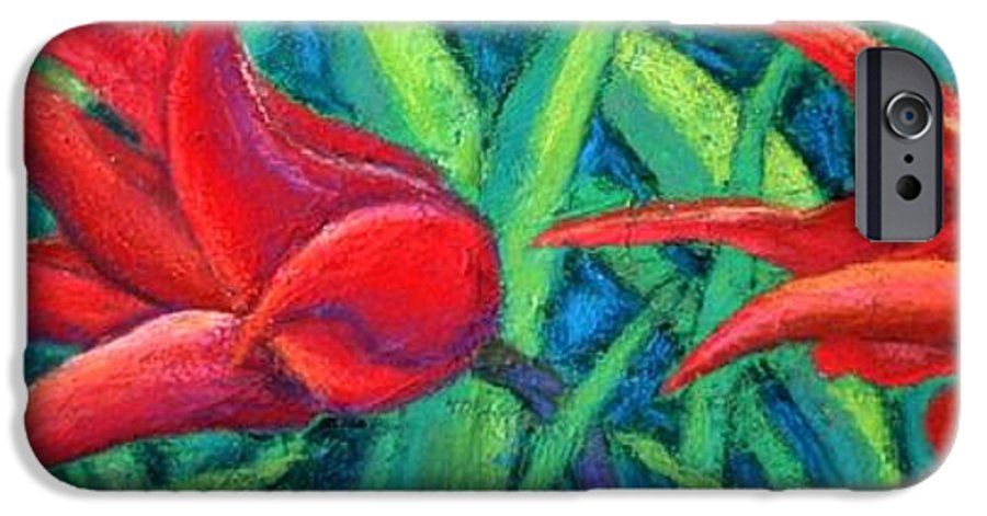 Tulips IPhone 6 Case featuring the painting Triple Tease Tulips by Minaz Jantz
