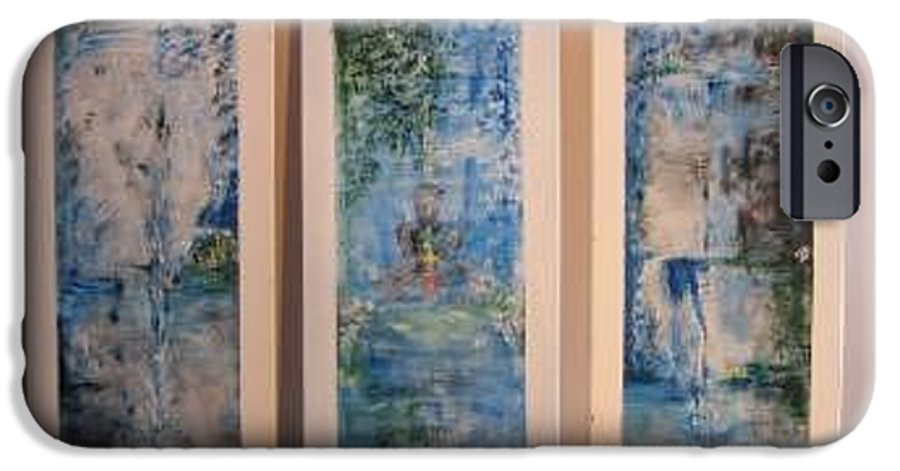 Meditation IPhone 6 Case featuring the painting Triptych Spiritual Meditation by Lizzy Forrester